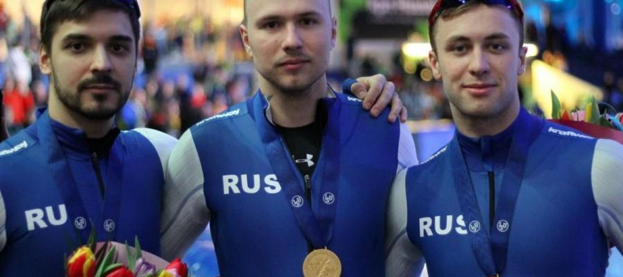 Виктор Муштаков в составе мужской команды России — чемпион Европы в командном спринте